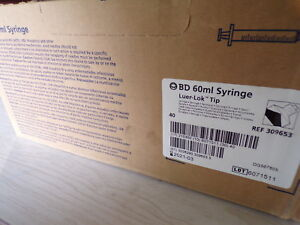 New Bd 60ml Syringe 309653 Luer lok tip 4 Boxes Of 40 160 Total free Shipping