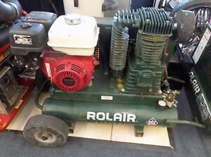 Rolair 8422hk30 0001 9hp Portable Two Stage Gas Twin Tank Honda Air Compressor