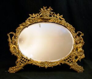Victorian Brass Oval Mirror Original Beveled Glass Easel Back Frame Circa 1900