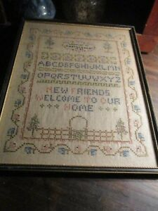 Antique Date 1929 Connecticut Sampler Alphabet Motto Garden Gate Primitive Aafa