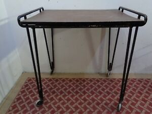 Vtg Antique Mid Century Modern Hairpin Leg Rolling Table Iron Base Adjustable
