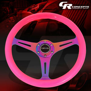 Nrg 350mm Neon Pink Wood Grain Neo Chrome Spokes Steering Wheel Replacement