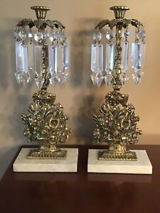 Antique Cast Brass Mantle Lustres With 5 Crystal Prisms And Marble Bases