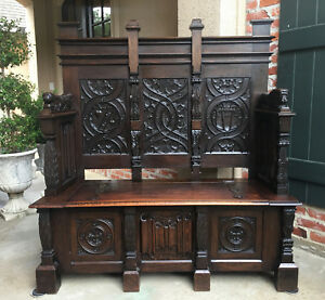 Tall Antique French Carved Oak Hall Bench Chest Gothic Settle Pew Renaissance