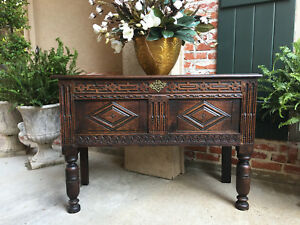 Antique English Carved Oak Sofa Table Chest Coffer Sideboard Cabinet Primitive