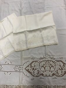 Antique Linen Bed Sheet Pillowcases Floral Lace Detail Edge 66 X 94
