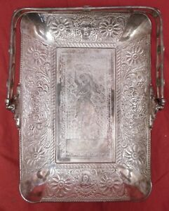 Great Antique Silver Plate Bread Basket With Gypsy Dancing Girl