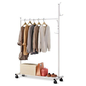White Rolling Garment Rack Heavy Duty Clothes Hanger W Shoe Rack Portable