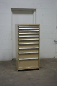 Used Lista 10 Drawer Cabinet 22 Deep Industrial Tool Storage 1623 Vidmar