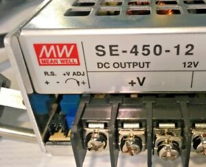 Mean Well Se 450 12 Ac dc Power Supply Single out 12v 37 5a 450w W Cord In Usa
