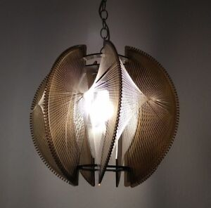 Vintage Mid Century Modern Lucite And String Hanging Light Fixture
