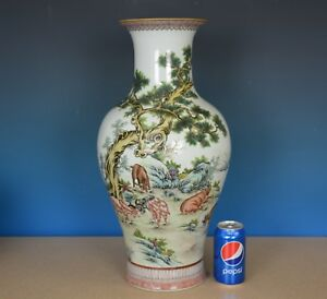 Magnificent Antique Chinese Famille Rose Porcelain Vase Marked Qianlong G2868