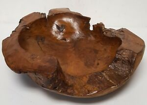 Medium Free Form Burl Root Wood Lacquered Centerpiece Bowl Antique Chinese Asian