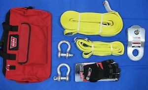 Warn 88900 Winch Winching Accessory Kit Snatch Block Clevis D Shackle Strap Case