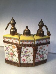 Antique French Hand Painted Porcelain 3 Perfume Bottles W Brass Ornate Case L