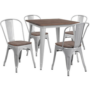 31 5 Square Silver Metal Restaurant Table Set With Walnut Wood Top And 4 Chairs