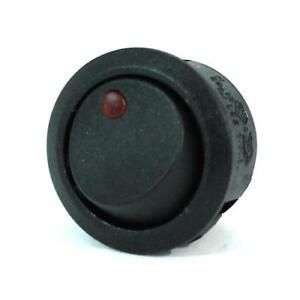 4pk Black Round Rocker Switch Red Led 3p Spst On off 12vdc