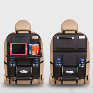 2pcs Car Seat Back Bag Organizer Storage Ipad Holder Multi Pocket Leather Black