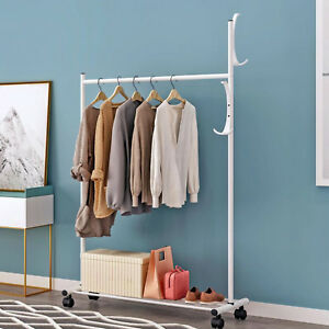White Heavy Duty Portable Clothes Hanger Rolling Garment Rack
