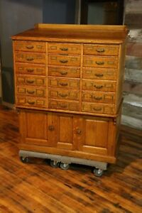 Antique Sole Makers Library Bureau Tiger Oak Card Catalog Drafting Table Cabinet