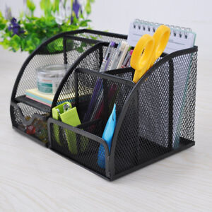 Metal Mesh Desk Organizer Pen Stationery Holder Office School Supplies Storage