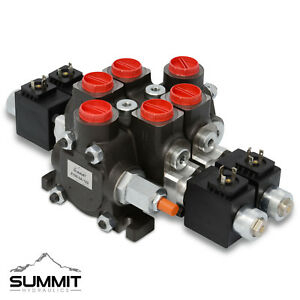 Hydraulic Solenoid Directional Control Valve Double Acting 2 Spool 27 Gpm 12v