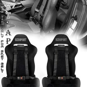 Universal 2x Jdm Tow 4 Point Racing Safety Harness 2 Inch Strap Seat Belt Black
