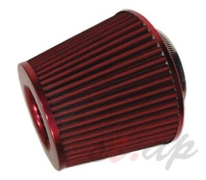 2 5 Inch Cold Air Short Ram Intake Filter Dry Cone High Flow Universal Red