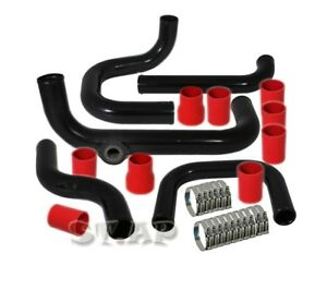 Civic Integra Bolt On Turbo Intercooler Piping Kit Black red type rs Bov Flange