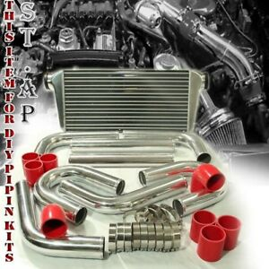 Jdm 31 Turbo Bar plate Intercooler 3 Chrome Piping U pipe Kits W Red Couplers