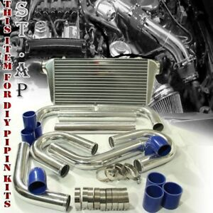 Jdm Bar plate 31 turbo Intercooler 2 5 8pc Aluminum Piping Kit U pipe Ch blue
