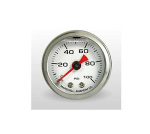 Marshall Gauge 0 100 Psi Fuel Oil Pressure White 1 5 Diameter Liquid Filled