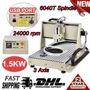 Usb 3 Axis 6040t Cnc Router Engraver 1 5kw Vfd Woodworking Engravering Machine
