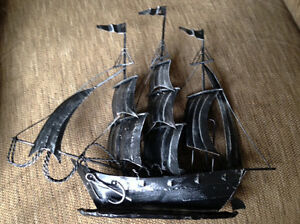Vintage Ship Model Clipper Ship With Sails Metal 11 00 X 12 50