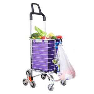 Folding Shopping Cart Trolley Wheels Grocery Storage Basket Oxford Fabrics Bags