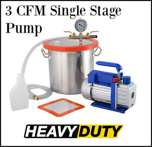 Vacuum Chamber 3 Gallon Pump Degassing Silicone 3 Cfm Single Stage Stainless Kit
