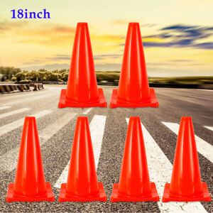 18 Fluorescent Red Safety Cones Parking Driveway Traffic Cones 6 pack Pvc