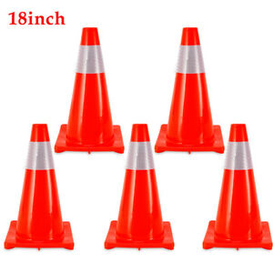 5pcs Traffic Cone 18in Wide Fluorescent Red Reflective Road Safety Parking Cones