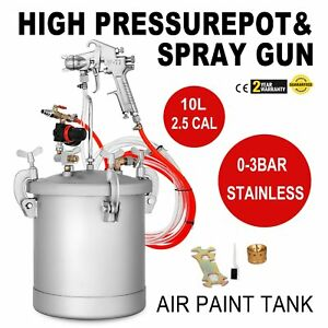2 5 Gallon High Pressure Pot Paint Sprayer With Spray Gun 10l 1 4 Air Inlet Oy