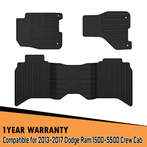 2013 17 Dodge Ram 1500 2500 3500 Crew Cab Black Turbo Sii All Weather Floor Mats