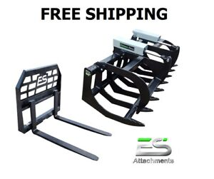 Es 66 Hd Brush Grapple And 48 Pallet Forks Combo Skid Steer Free Shipping