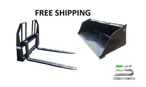 Es New 78 Snow mulch Bucket Walk Through Pallet Forks Combo Skid Steer