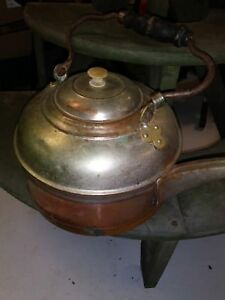 Antique Copper Tea Pot Kettle Wooden Handle Rochester New York