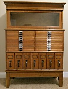 Antique American Oak Filing Cabinet Hutch Display Lawyers Library Case