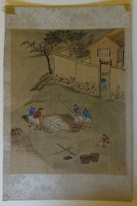 Pprta Antique Chinese Qing Painting On Silk Rice Harvesters
