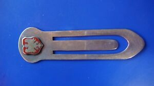 Antique Red Enamel Sterling Silver Griffin Paperclip Book Mark 925