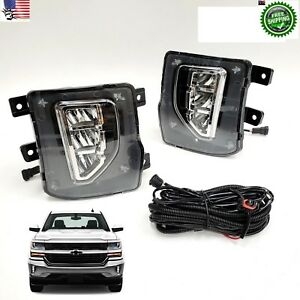 For 2016 2018 Chevy Silverado 1500 Led Clear Lens Fog Light Switch Wire Harness
