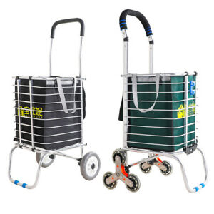 Folding Shopping Trolley Cart Stair Climbing Rolling Grocery Storage Basket