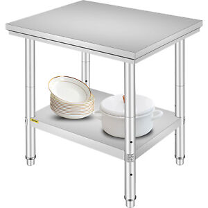 24x30 Stainless Steel Kitchen Work Table Bench Shelves Restaurant Commercial