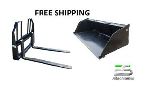 Es New 84 Snow mulch Bucket Walk Through Pallet Forks Combo Skid Steer